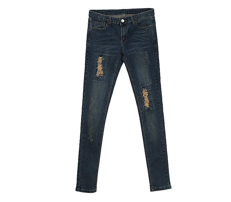 b1f93d9914b Синие зауженные женские джинсы с потертостями заказать по низкой ...