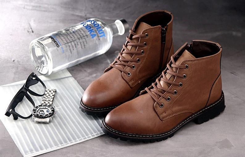 5b94a779 Кожаные мужские низкие ботинки - цвет коричневый. цвет: . купить ...