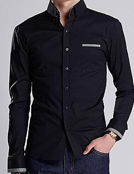 cbacf5a1929 Двухцветная мужская рубашка с длинным рукавом с прорезью кармана на груди