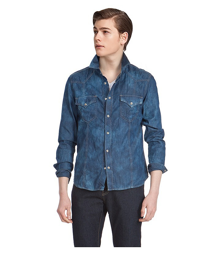 f76b80636cd Джинсовая рубашка с оригинальной текстурой в онлайн каталоге ...