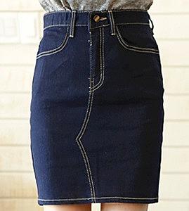 f6cb99a41a2 Короткая джинсовая юбка классического кроя - цвет джинсовый ...