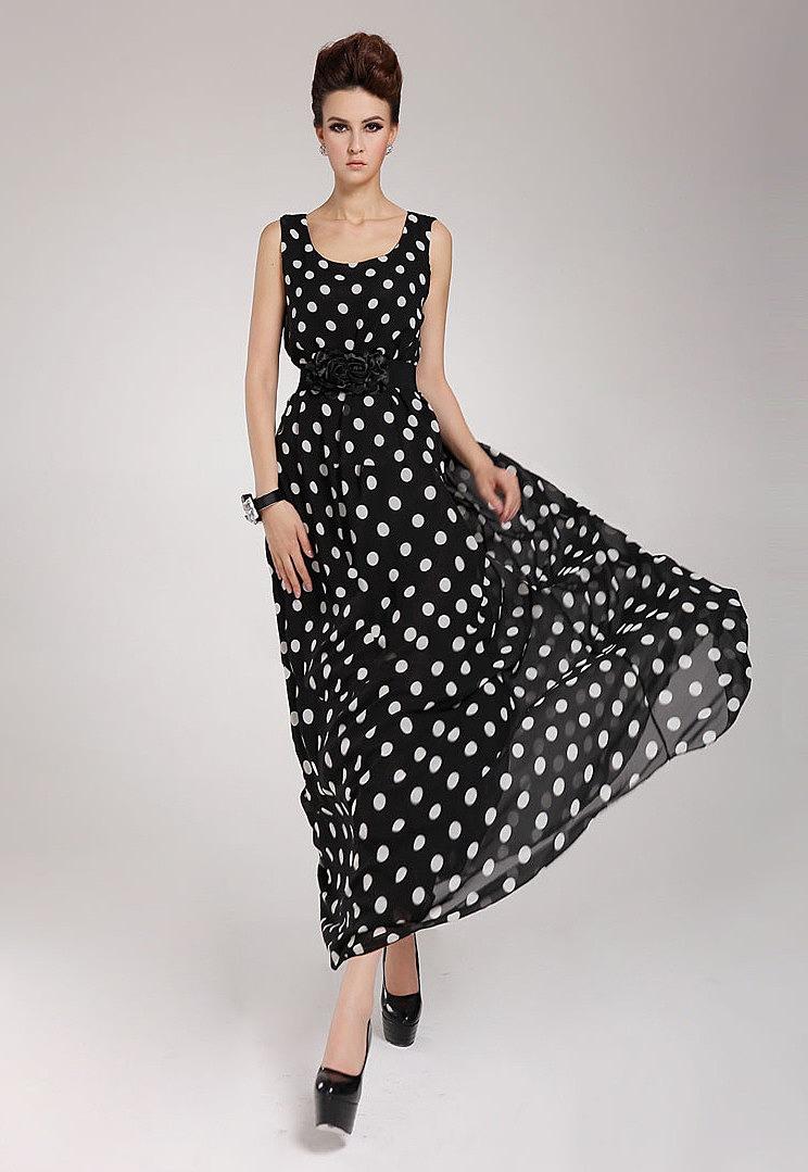 c81e608d864 Шифоновое черное ретро-платье в белый горошек