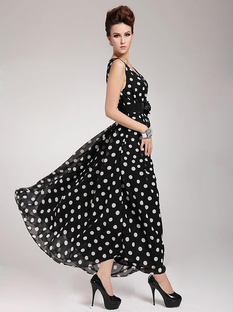Шифоновое платье в горошек