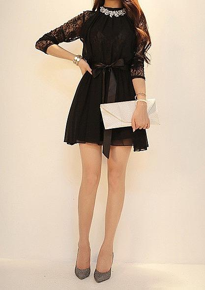 81b0f35d5c4 Стильное шифоновое платье с кружевными рукавами купить по низкой ...
