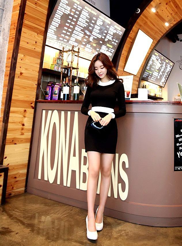b2115fefe26 Черное платье с белым поясом и воротником по низкой цене