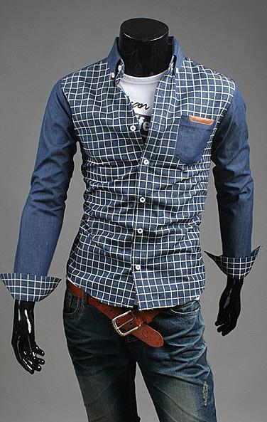 347e5d4a4c0 Мужская рубашка под джинс с клетчатым узором купить с доставкой по ...