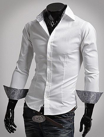 f8af74805b493f0 Мужская приталенная рубашка с красивыми вставками купить с доставкой ...