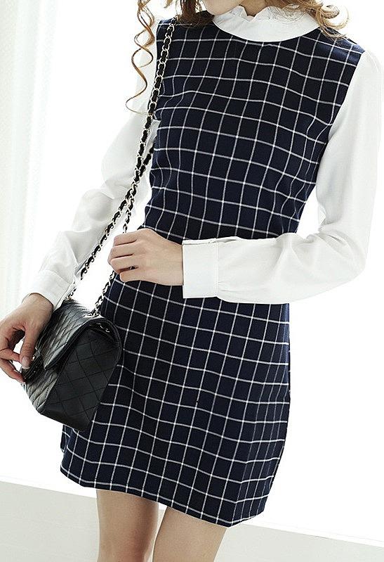 4f26c5f1d7b Черное платье в клетку с белыми рукавами и воротником купить по ...