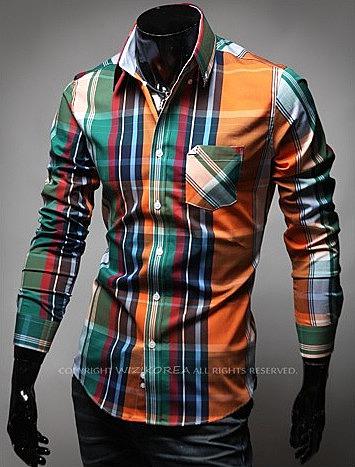d5873a6f001 Цветная рубашка в крупную клетку купить с доставкой по россии и ...