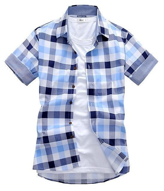 9f797b1be3f Стильная рубашка в крупную цветную клетку. цвет  голубой