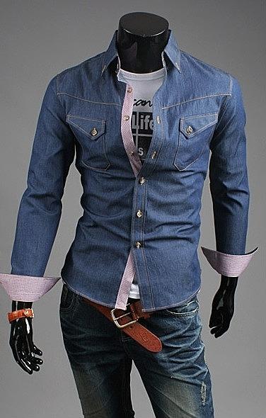 3ed9f02ec175c52 Джинсовая рубашка с необычными карманами в онлайн каталоге ...