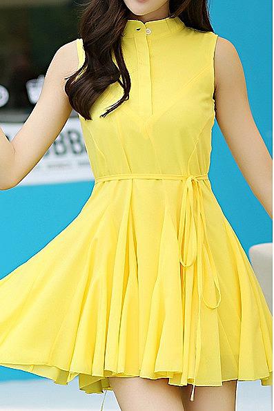 46e3f7d712f Короткое однотонное платье - цвет желтый - новая модель летнего ...