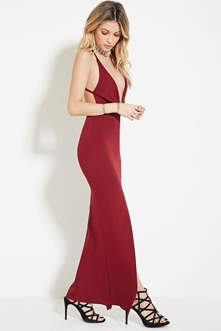 d35a5f677d3 Макси платье-сорочка с глубоким вырезом купить в интернет магазине ...