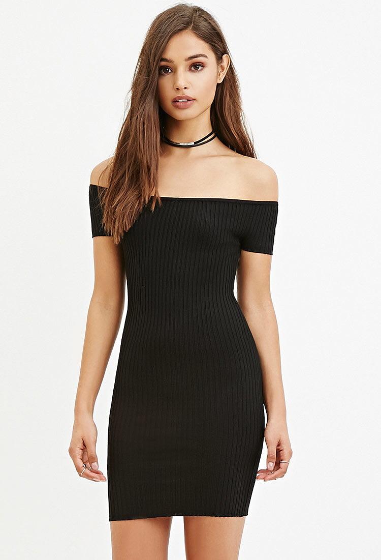 b391e7e5627 Обтягивающее платье с открытыми плечами купить в интернет магазине ...