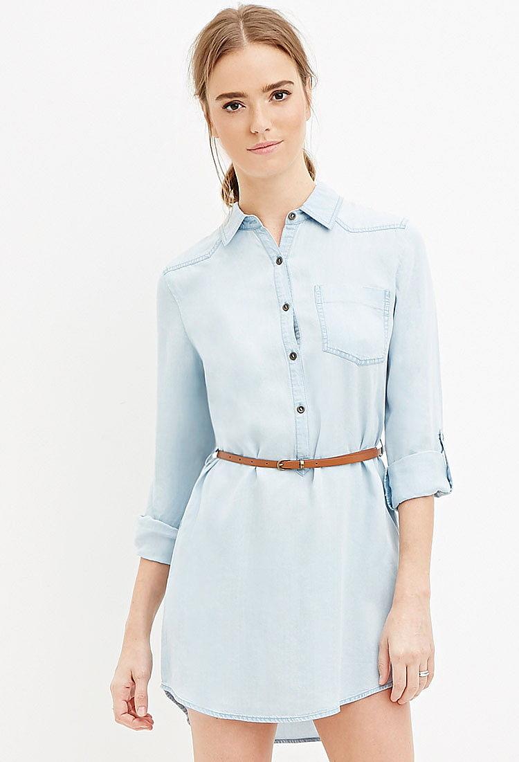 b3dce5a6afb16aa Платье с ремнем из ткани шамбре купить в интернет магазине одежды ...