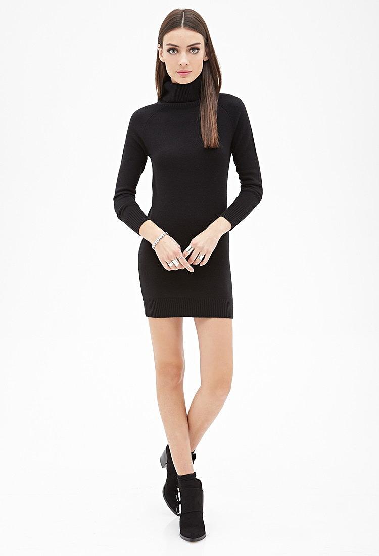 Черное Платье Водолазка Купить