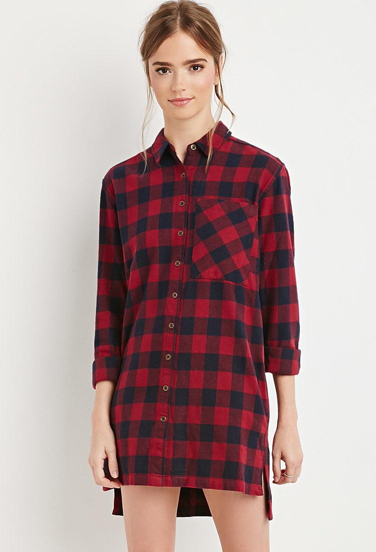 f1633e42db6 Удлиненная рубашка в крупную клетку купить в интернет магазине ...