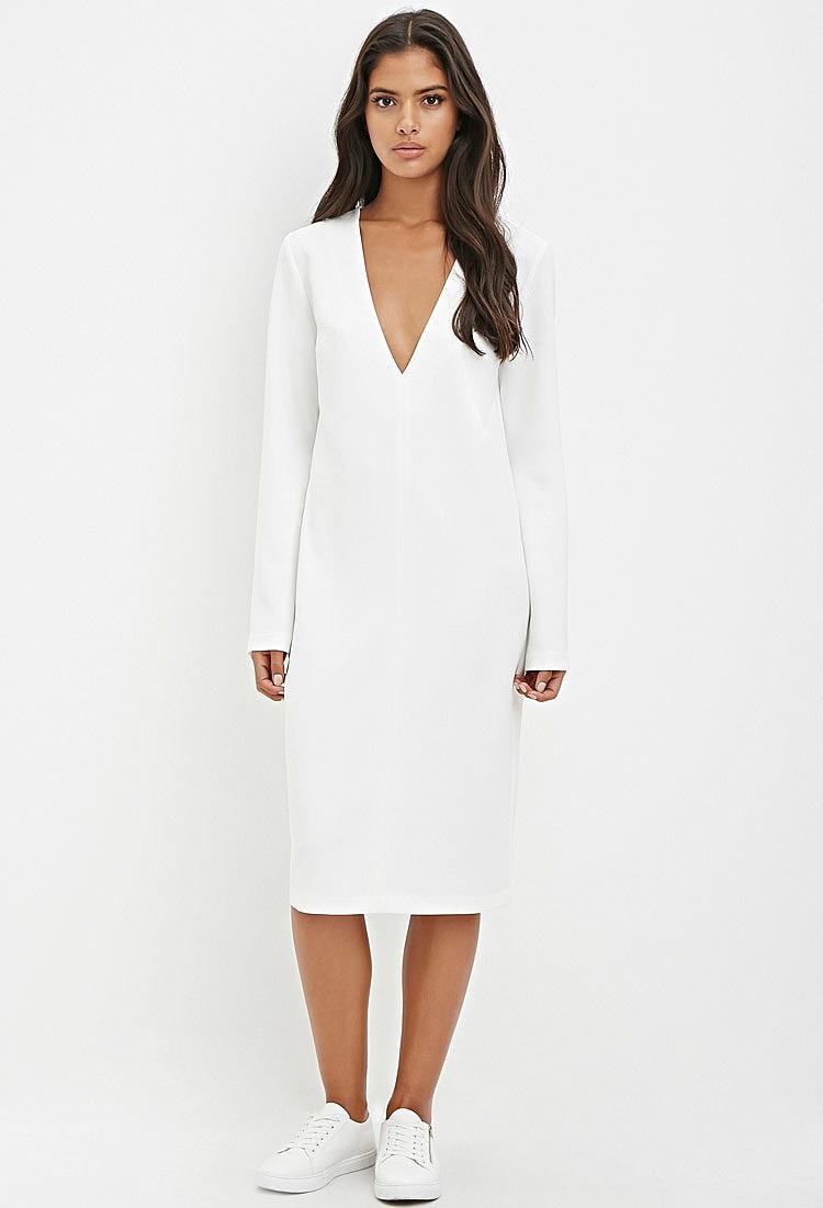 f3767b8cfa1 Свободное платье-миди купить в цвете белый