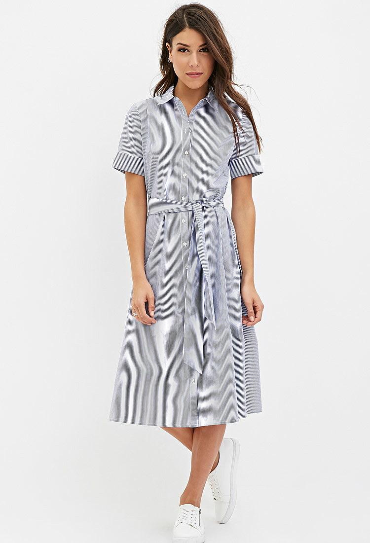 f6ec3836d2a Полосатое платье-миди с поясом купить в цвете бело-голубой
