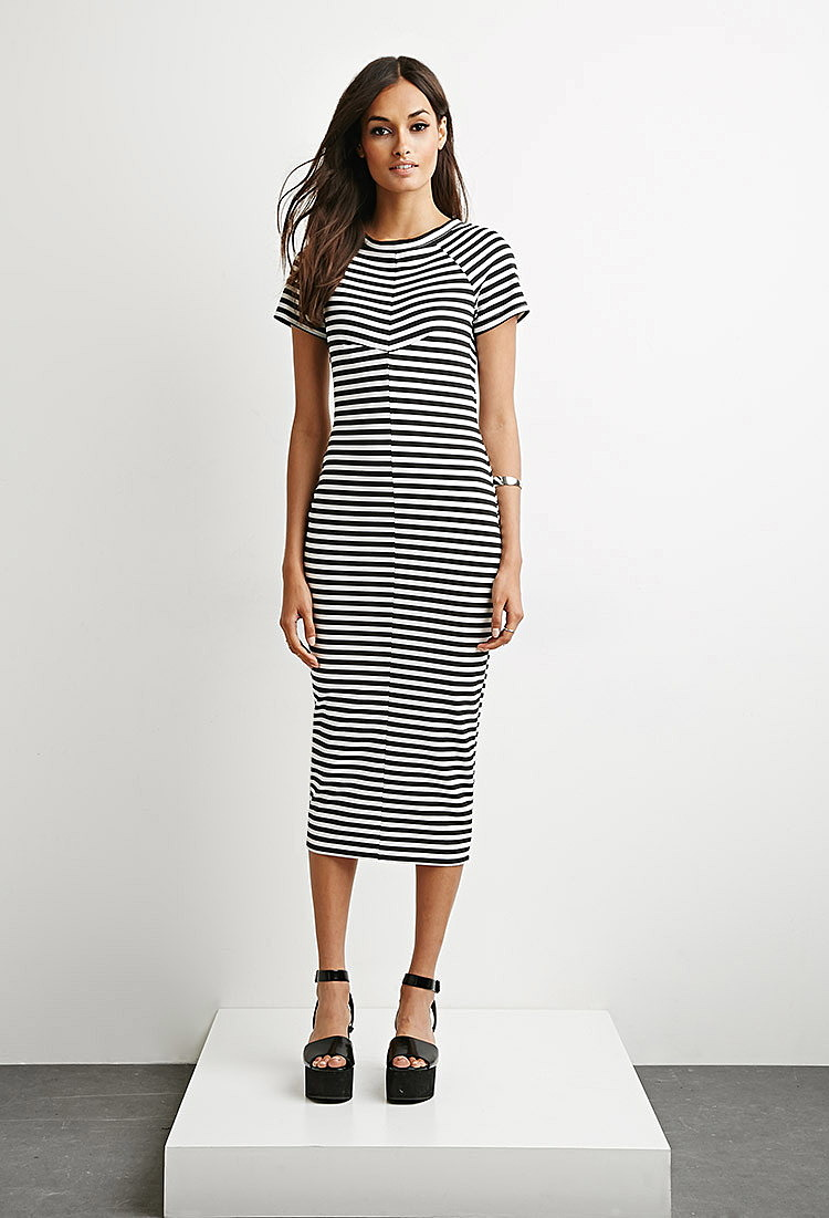 Купить платье миди в полоску