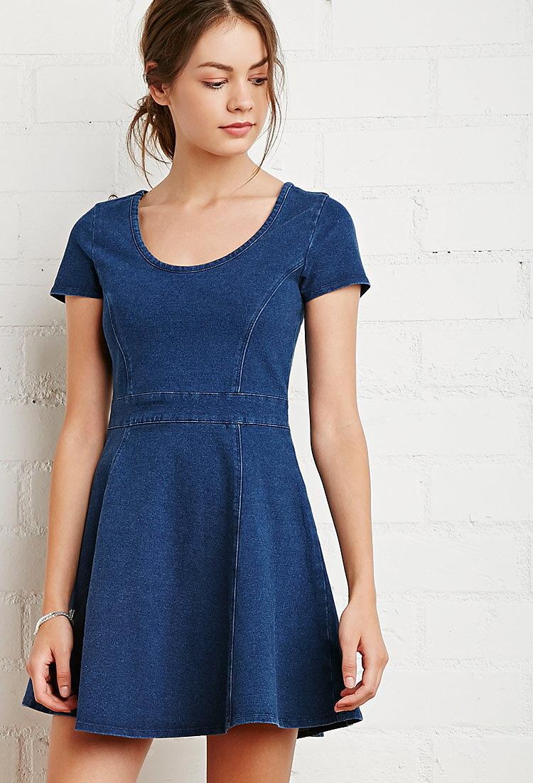 f5fde4604ab26b5 Джинсовое расширяющееся к низу платье купить в интернет магазин ...
