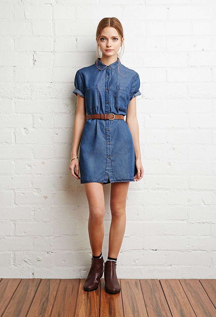 3e5a2b206fbb029 Рубашка-платье из ткани шамбре купить в интернет магазин джинсовых ...