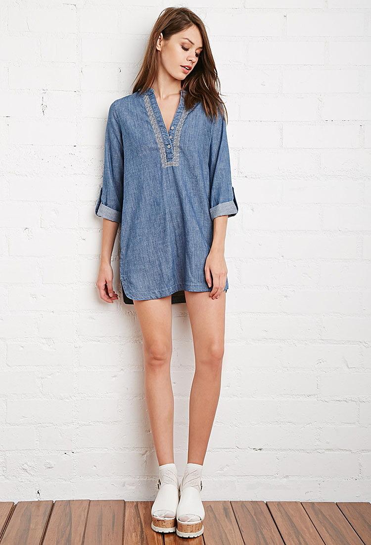 b2e214b766c Джинсовое платье с вышивкой купить в интернет магазин джинсовых ...