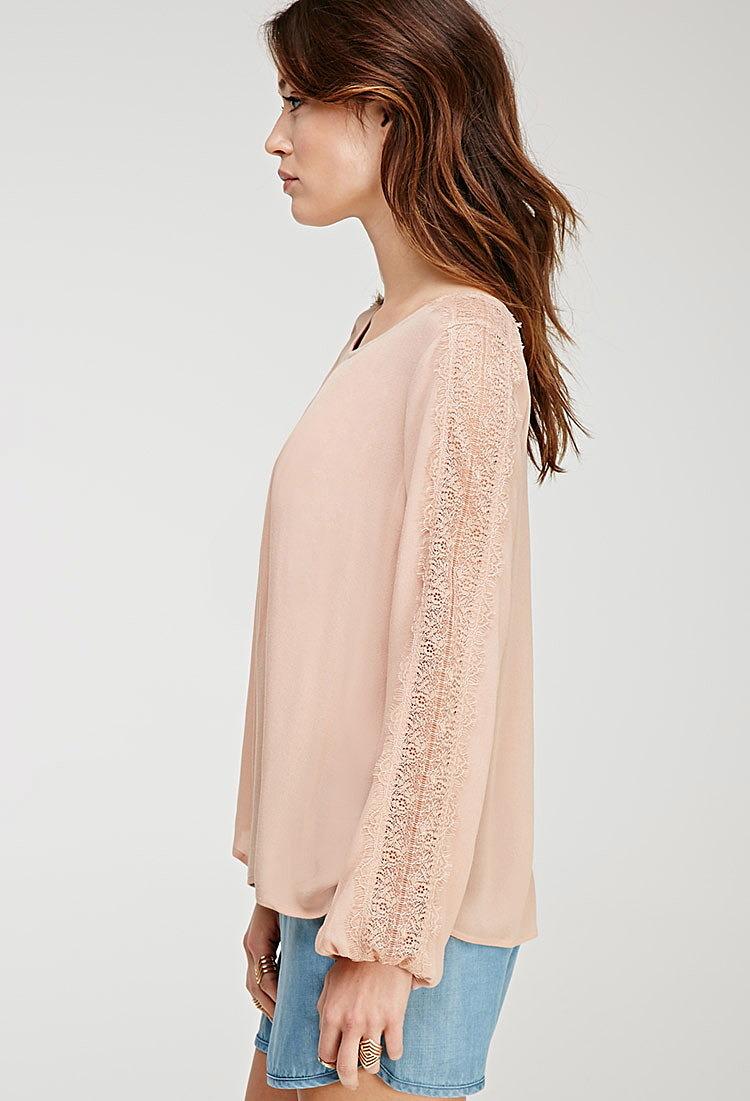 b29fe80b179 Блузка с кружевными вставками купить в интернет магазине женских ...