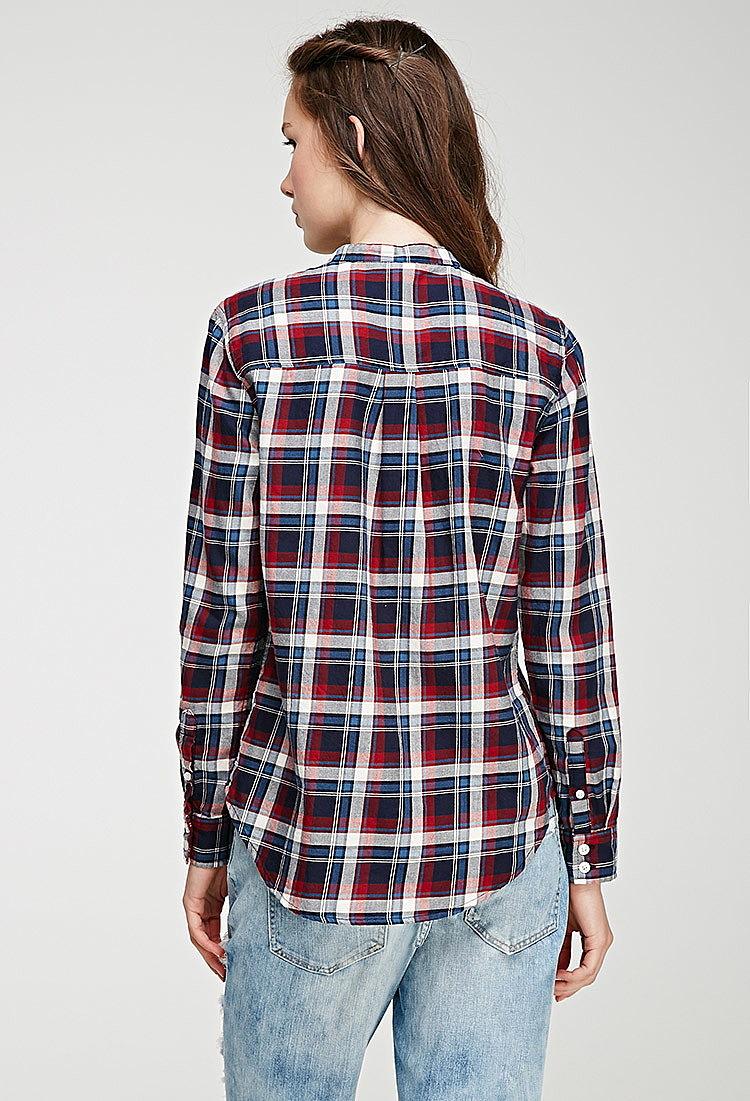 883f2120e26 Клетчатая рубашка без воротника купить в интернет магазине женских ...