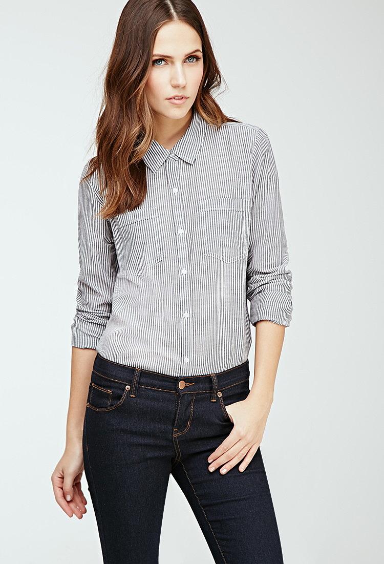 503f651648c Классическая рубашка в тонкую полоску купить в интернет магазине ...