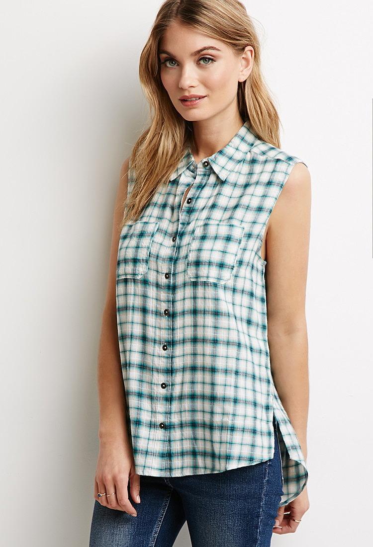 a82466f91aa Рубашка в клетку без рукавов купить в интернет магазине женских ...