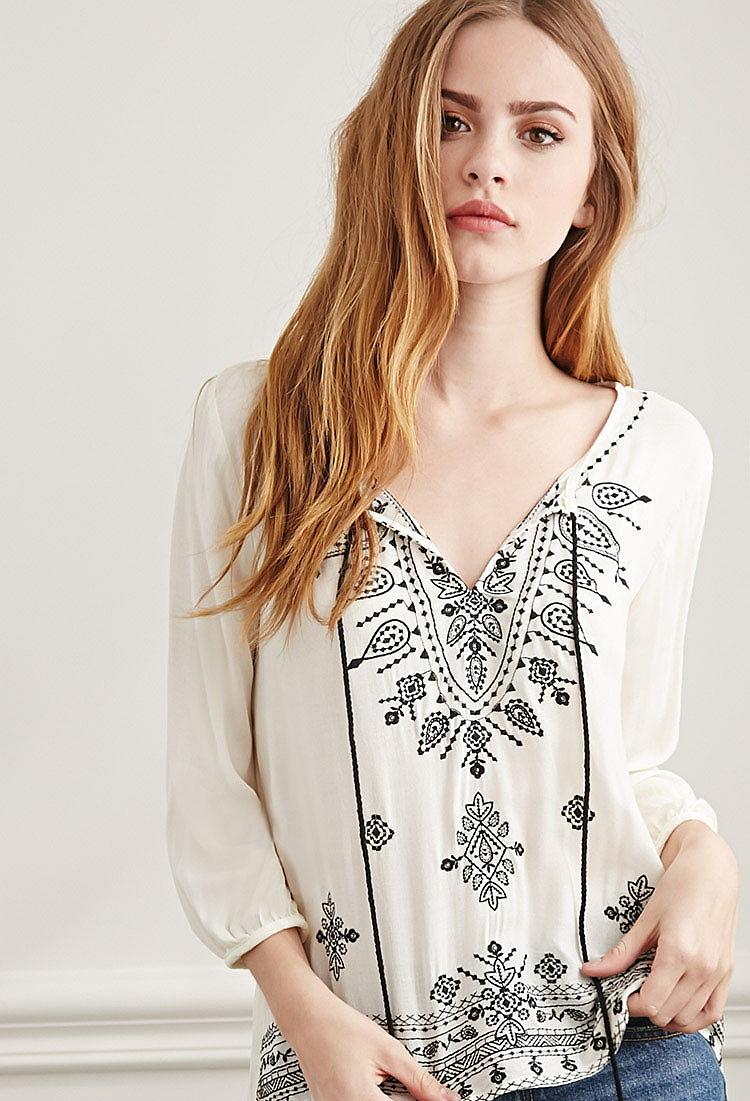 Белая Блузка С Вышивкой