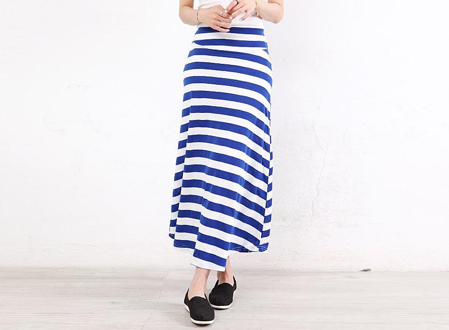 0366199419d Длинная юбка в горизонтальную полоску. модные модели длинных maxi ...